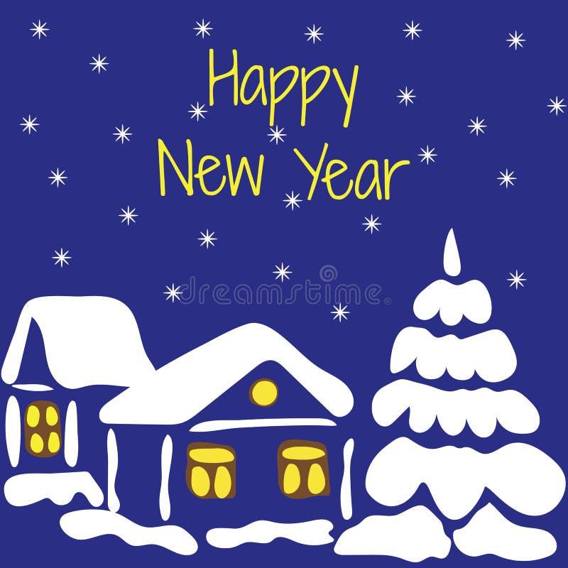 счастливое Новый Год Vector иллюстрация дома покрытого снегом и бесплатная иллюстрация