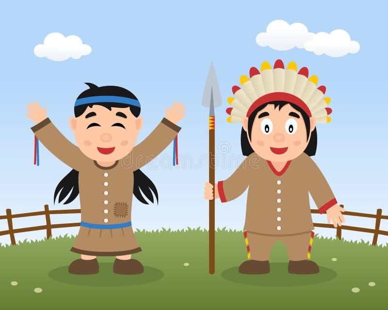 Счастливое официальный праздник в США в память первых колонистов Массачусетса с родными индейцами иллюстрация штока