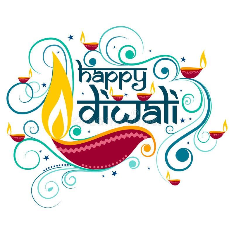 Счастливое оформление Diwali в стиле каллиграфии для фестиваля Индии иллюстрация штока