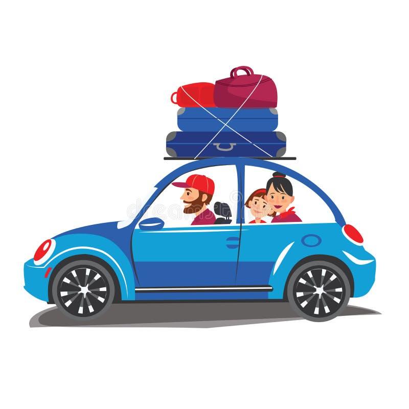 Счастливое перемещение семьи в автомобиле семья идет из городка на туризм и отпуск летнего отпуска перемещения мира каникул бесплатная иллюстрация