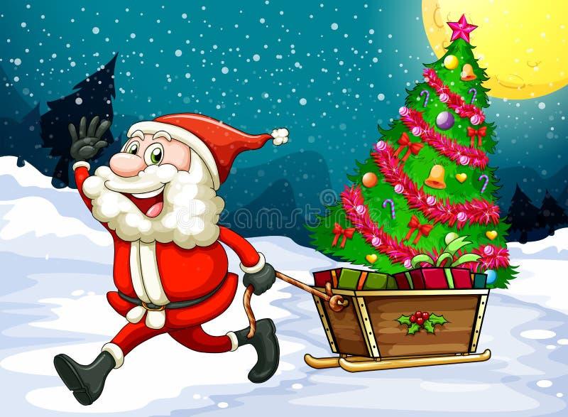Счастливое Санта вытягивая сани с рождественской елкой бесплатная иллюстрация