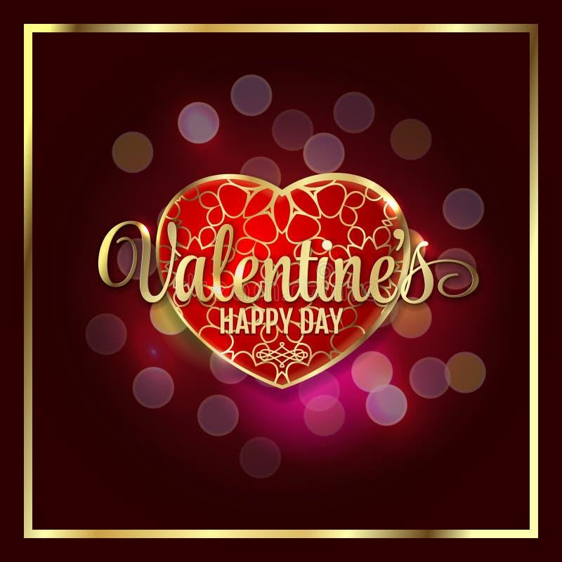 Счастливое сердце дня валентинок роскошное с bokeh освещает предпосылку валентинки иллюстрация вектора