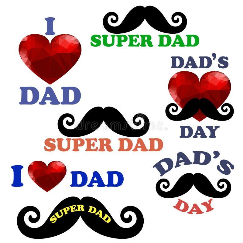 Счастливое собрание дизайна дня отцов иллюстрация вектора