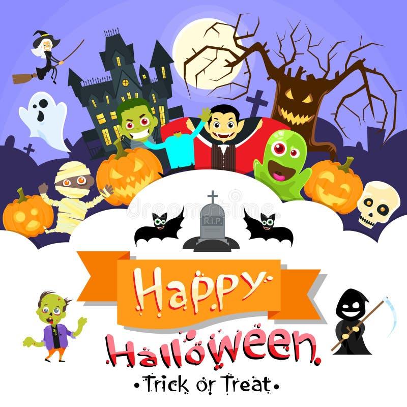 Счастливое собрание рогульки извергов знамени хеллоуина иллюстрация штока