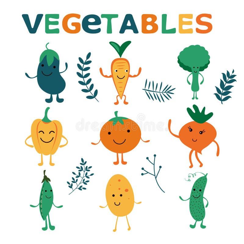 Счастливое собрание характеров овощей фермы иллюстрация штока