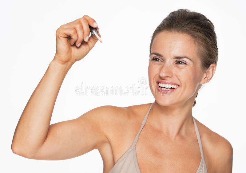 Download Счастливое сочинительство женщины в воздухе с лоском губы Стоковое Изображение - изображение насчитывающей сочинительство, сторона: 33732537