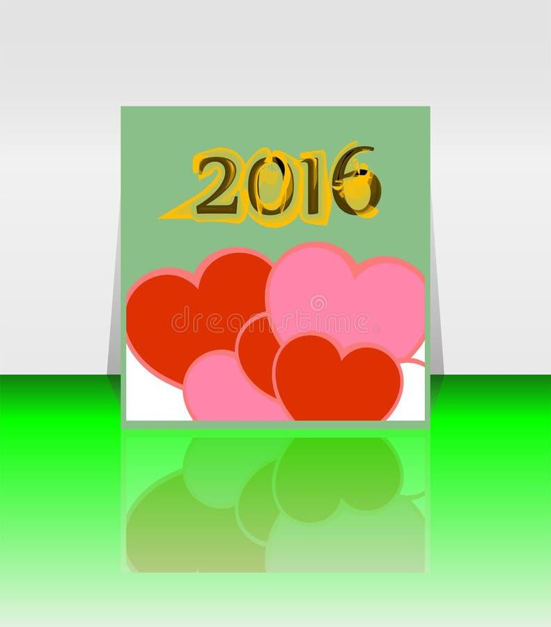 Счастливое слово Нового Года 2016 на пустом блокноте с красной формой сердца, шаблоном Нового Года бесплатная иллюстрация