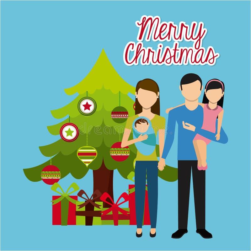 Счастливое с Рождеством Христовым иллюстрация штока