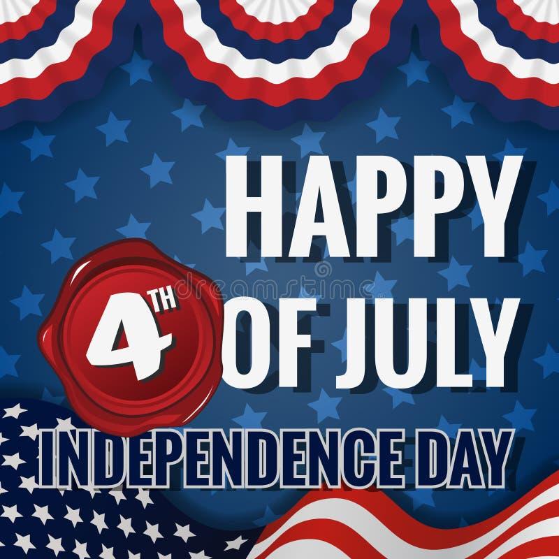 Счастливое 4-ый из Дня независимости в июле иллюстрация штока
