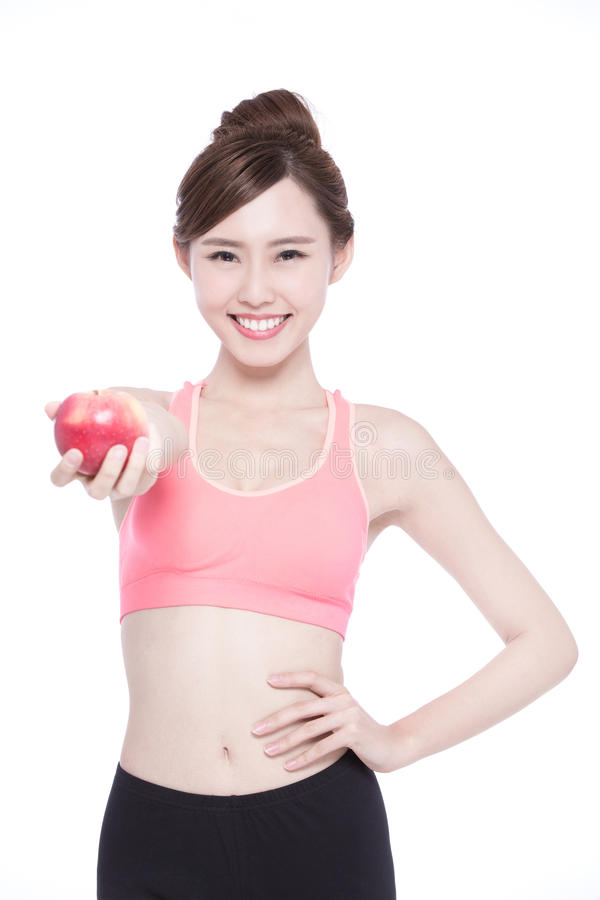 Счастливое яблоко выставки женщины здоровья стоковое фото