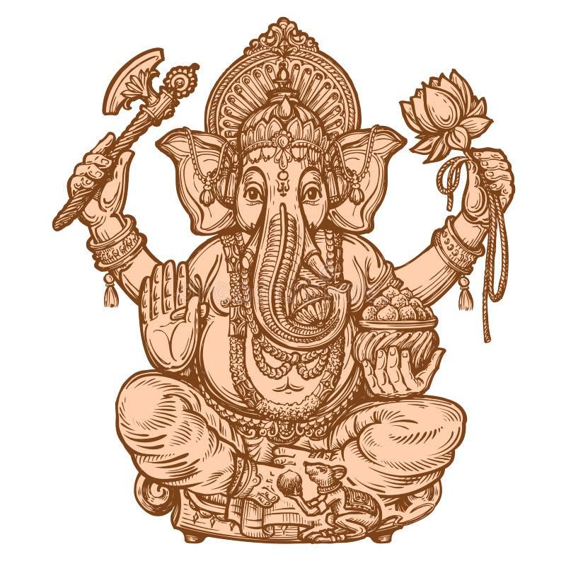 Счастливое Ganesh Chaturthi Нарисованный вручную эскиз также вектор иллюстрации притяжки corel бесплатная иллюстрация