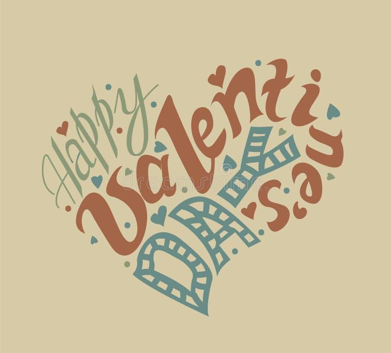 Счастливой литерность дня ` s валентинки нарисованная рукой Я тебя люблю calligrap иллюстрация вектора