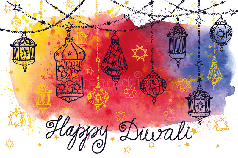 Счастливые лампы смертной казни через повешение Diwali и выплеск акварели бесплатная иллюстрация