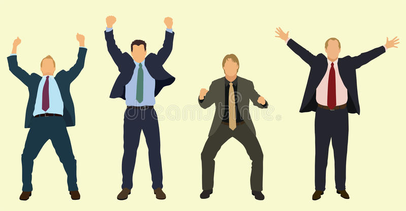 Счастливые бизнесмены празднуя бесплатная иллюстрация