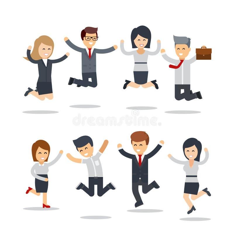 Счастливые бизнесмены скакать работа команды Группа в составе бизнесмены бесплатная иллюстрация