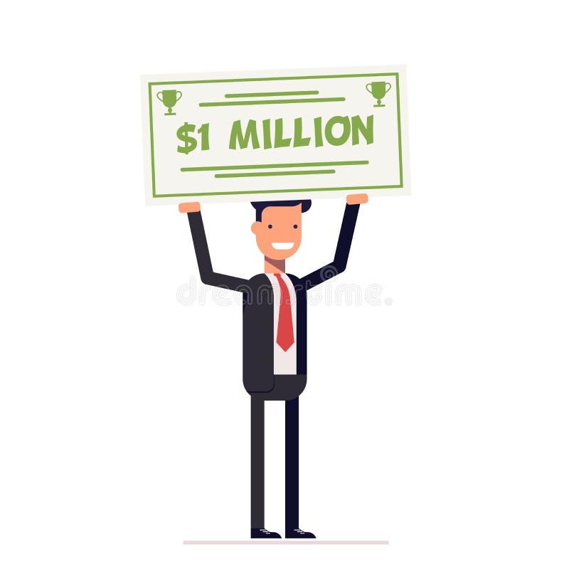 Счастливые бизнесмен или менеджер держа большую проверку миллиона долларов в руках усмехаться человека Вектор, иллюстрация EPS10 иллюстрация вектора