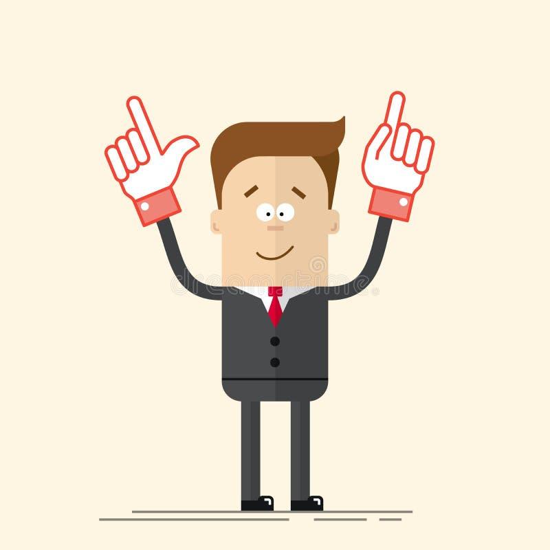 Счастливые бизнесмен или менеджер оно показывает вверх его руку Довольный человек в деловом костюме и связи Человек в стиле шаржа иллюстрация вектора