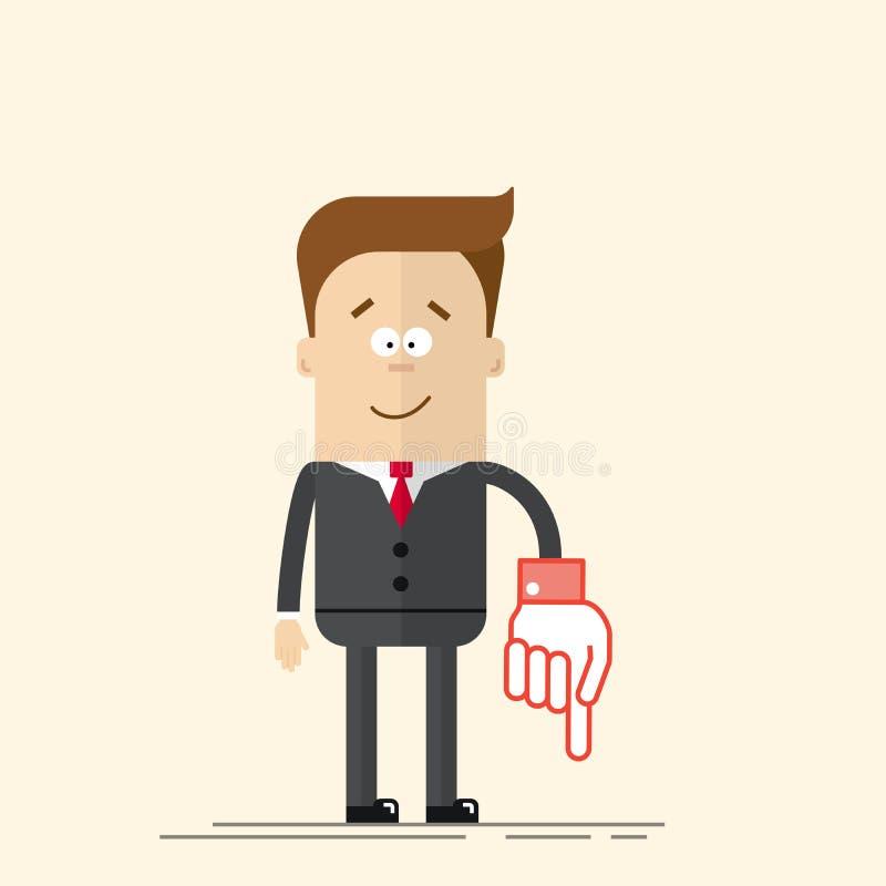 Счастливые бизнесмен или менеджер оно показывает вниз с его руки Довольный человек в деловом костюме и связи Человек в шарже плос бесплатная иллюстрация