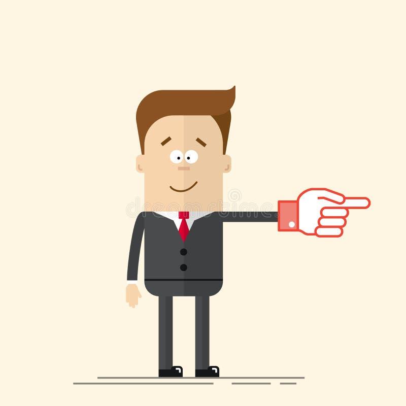 Счастливые бизнесмен или менеджер оно показывает стороне его руку Довольный человек в деловом костюме и связи Человек в шарже пло иллюстрация штока