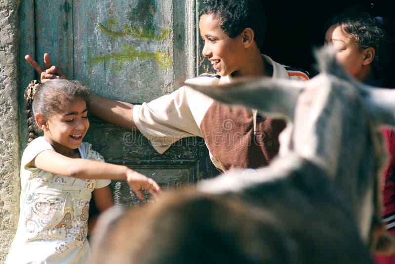 Счастливые дети в Египте стоковое изображение rf