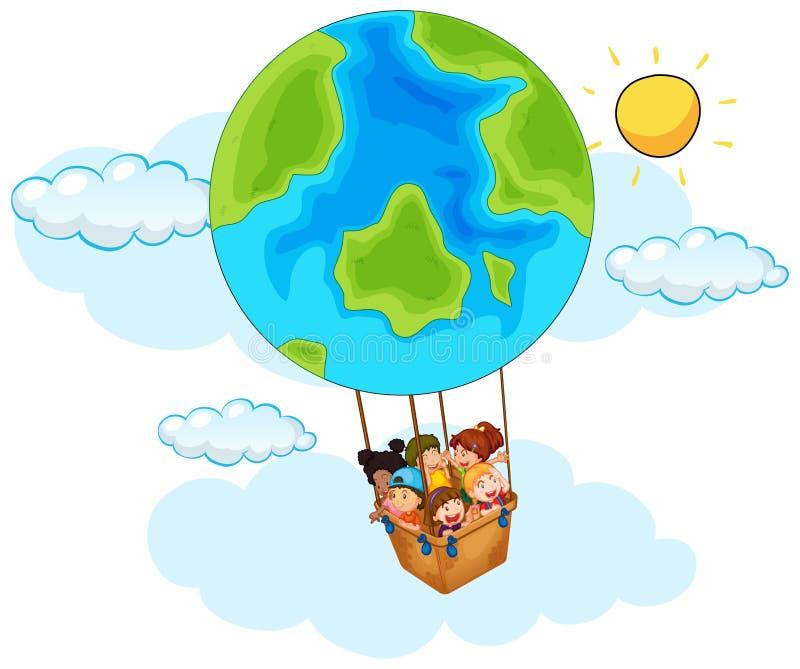 Счастливые дети ехать воздушный шар с картиной земли в небе иллюстрация вектора