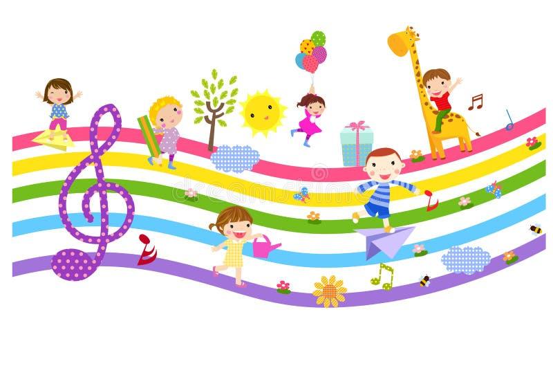 Счастливые дети и музыка иллюстрация вектора