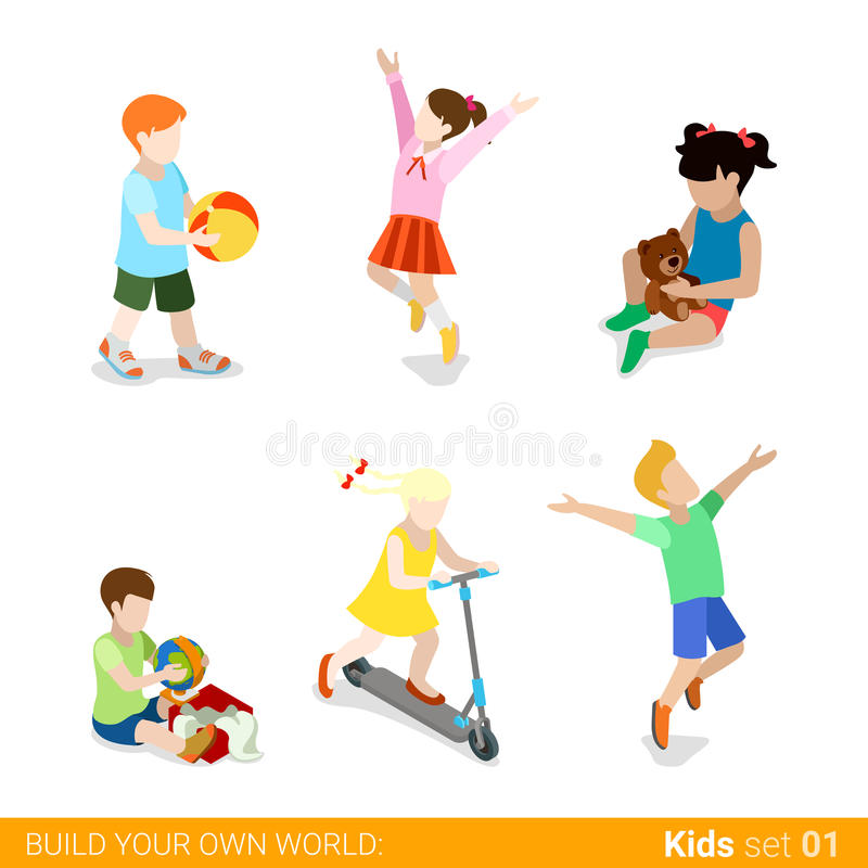 Счастливые дети на infograp сети воспитания игры плоском иллюстрация штока