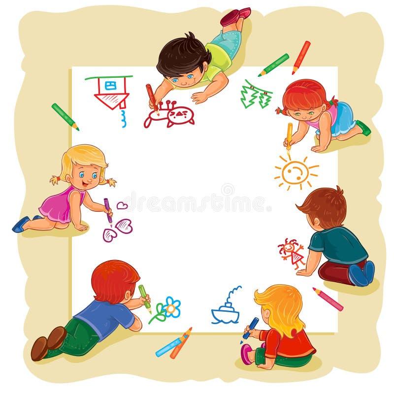 Счастливые дети совместно рисуют на большом листе бумаги иллюстрация вектора