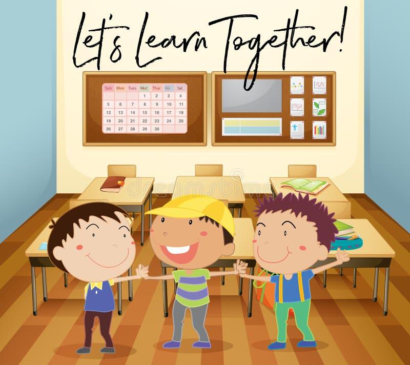 Счастливые дети учат в классе бесплатная иллюстрация