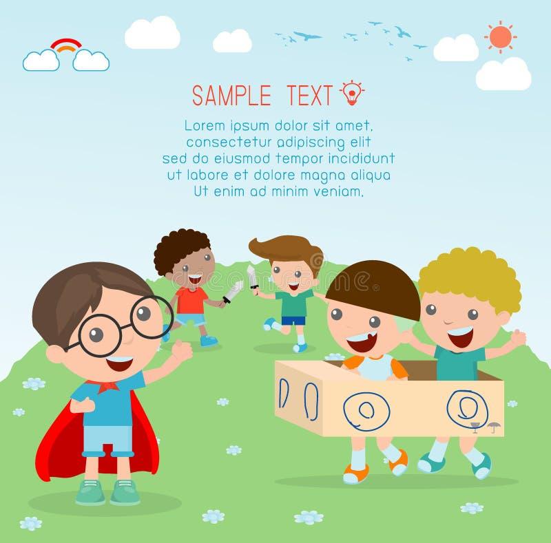 Счастливые дети шаржа, дети играя, играть ребенк и образ жизни, счастливый ребенок, иллюстрация вектора, дети на спортивной площа иллюстрация вектора
