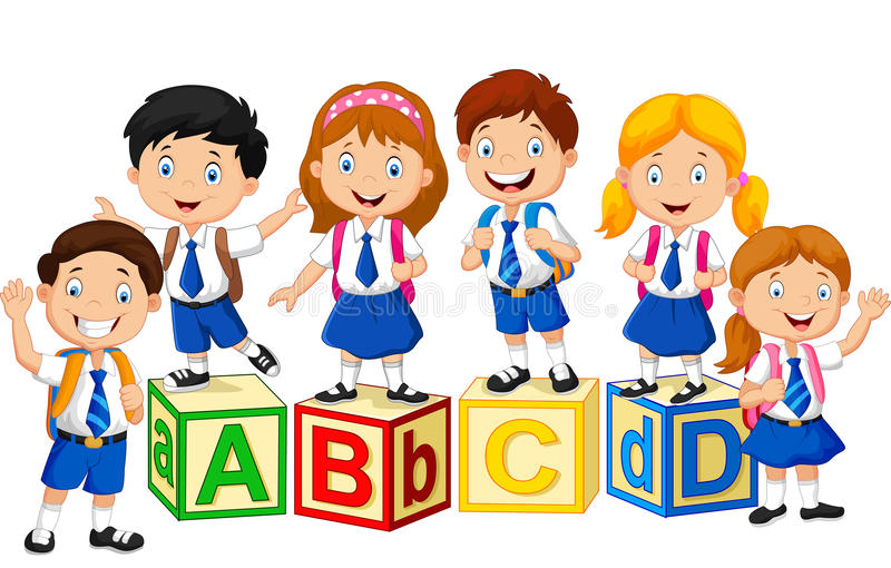 Счастливые дети школы с блоком алфавита иллюстрация вектора