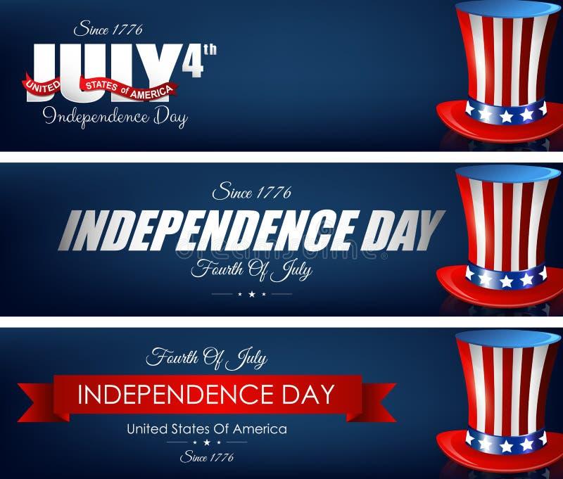 Счастливые знамена Дня независимости с шляпами иллюстрация вектора