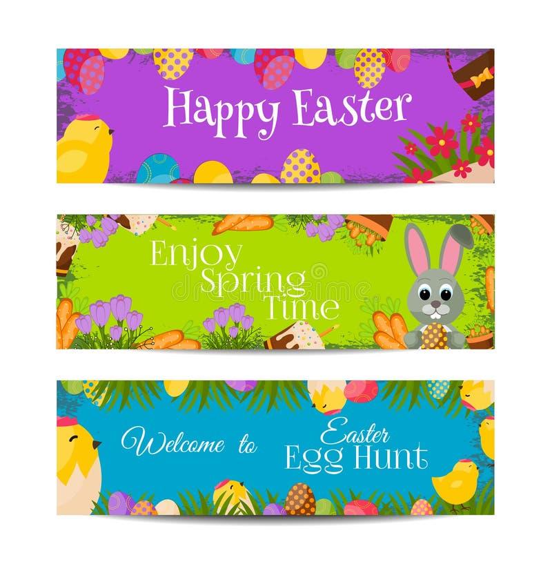 Счастливые знамена пасхи установили с красочными яичками, желтым цыпленоком, крокусом, тортом, кроликом зайчика, морковами, букет иллюстрация штока