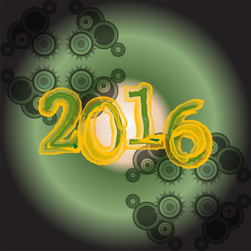 Счастливые дизайн поздравительной открытки Нового Года 2016 творческий иллюстрация вектора