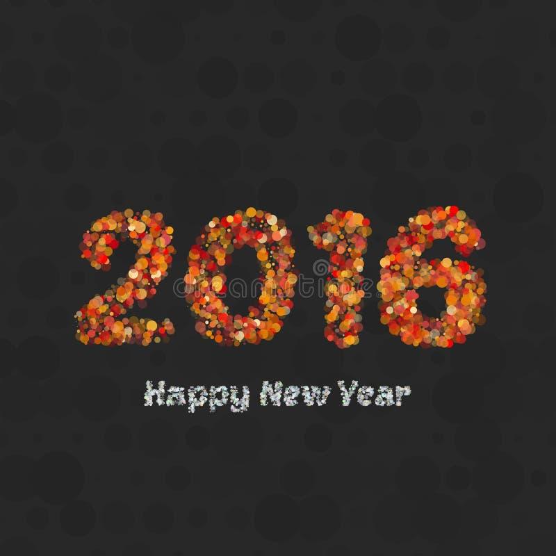 Счастливые дизайн поздравительной открытки Нового Года 2016 творческий иллюстрация штока