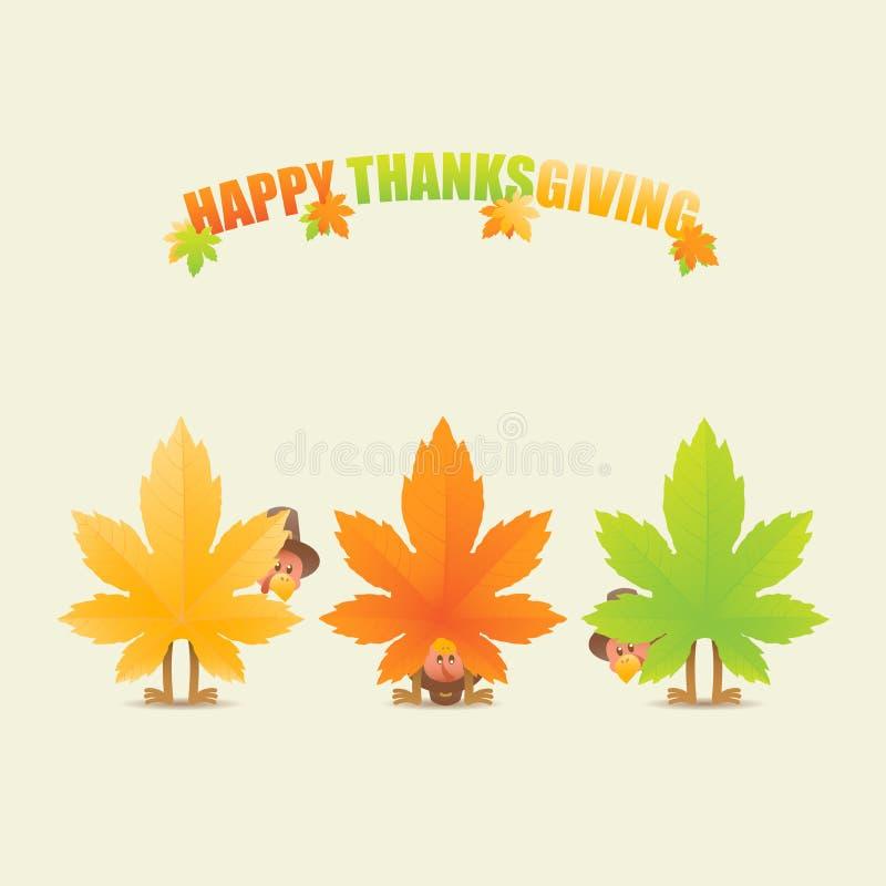 Счастливые индюки благодарения замаскированные как кленовые листы иллюстрация штока