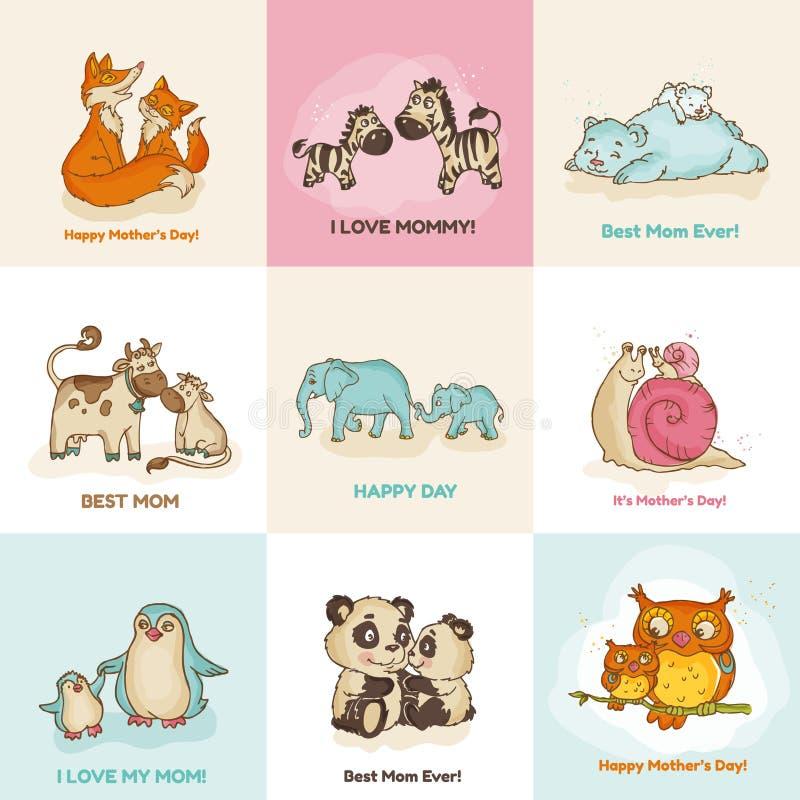 Счастливые карточки дня матерей иллюстрация вектора