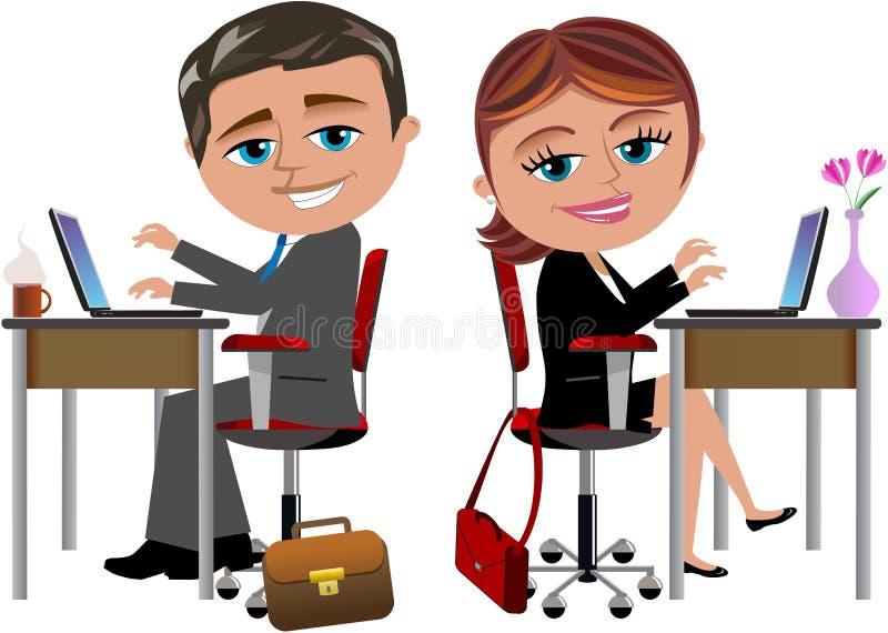 Счастливые коллеги работая на столе офиса бесплатная иллюстрация
