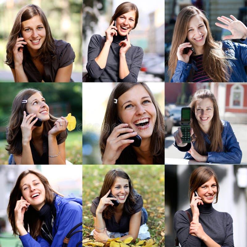 Счастливые красивые девушки вызывая телефоном стоковая фотография
