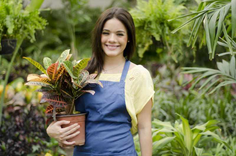 Счастливые клиенты приветствию садовника стоковое изображение rf