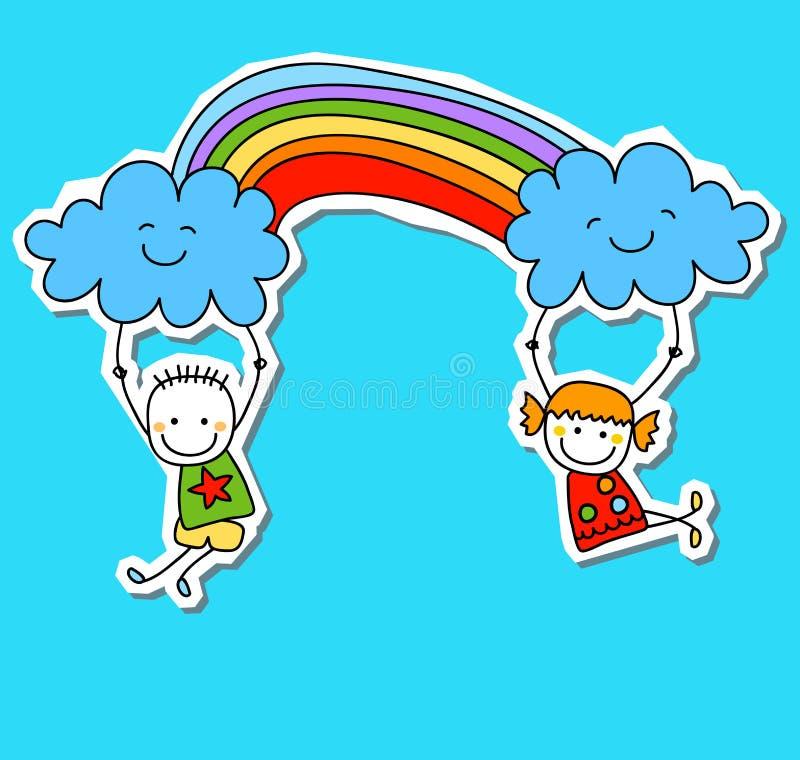счастливые малыши иллюстрация штока
