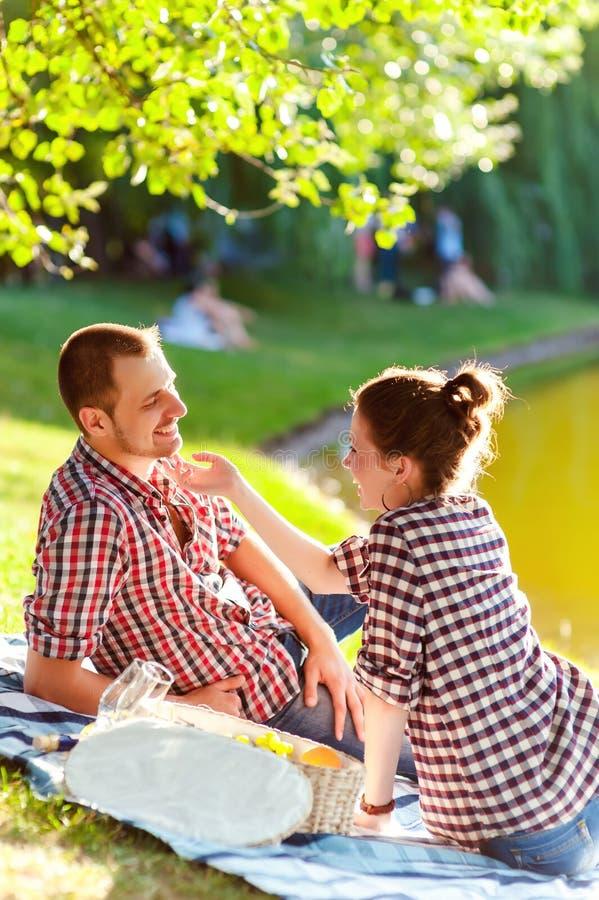 Счастливые молодые пары наслаждаясь пикником тонизированное изображение стоковые фото