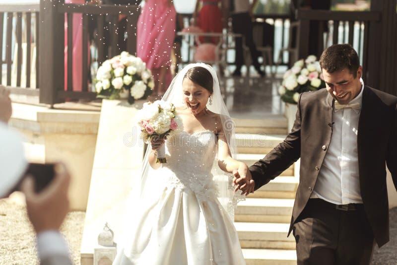 Счастливые новобрачные поженились супруг и невеста пар взбираясь вниз st стоковые изображения