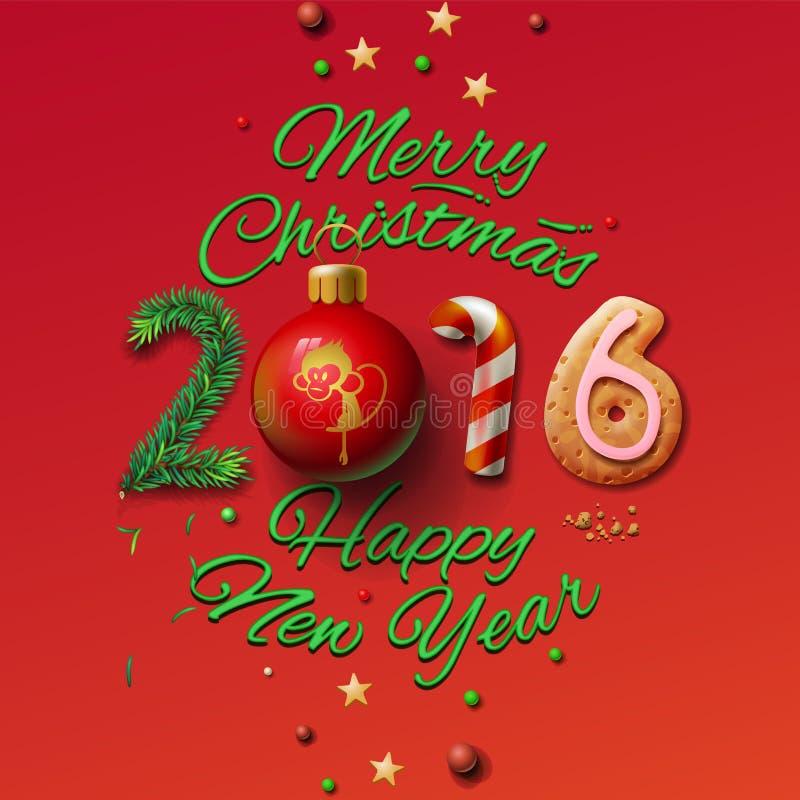Счастливые Нового Года поздравительная открытка 2016 и веселый бесплатная иллюстрация