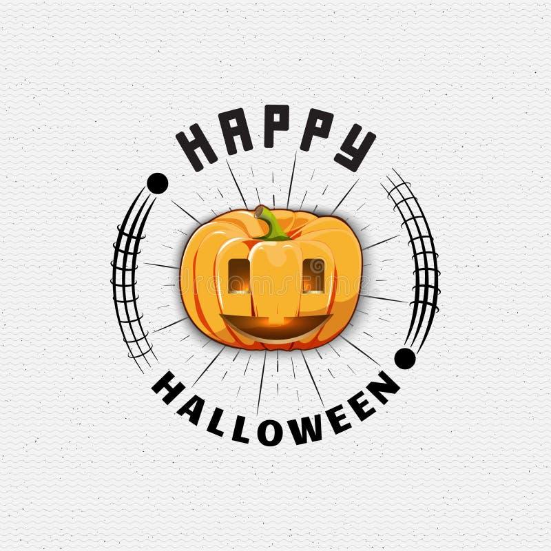 Счастливые логотипы и ярлыки значков хеллоуина для любых бесплатная иллюстрация