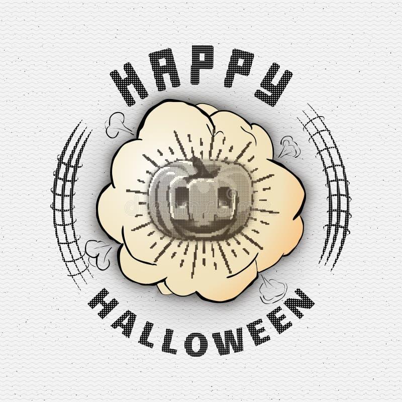 Счастливые логотипы и ярлыки значков хеллоуина для любых иллюстрация штока