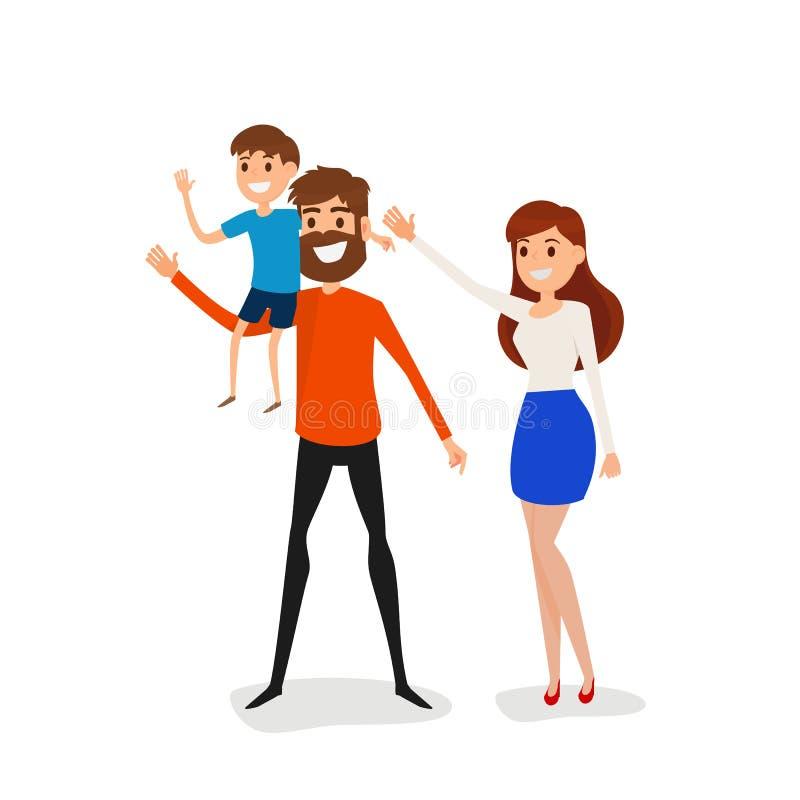 Счастливые отец семьи, мать и концепция сына Папа нося немного иллюстрация штока