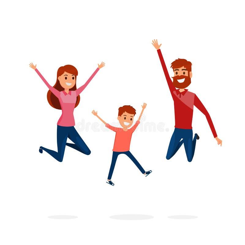 Счастливые отец семьи, мать и скакать сына Счастливая семья показывать с жизнерадостной улыбкой бесплатная иллюстрация