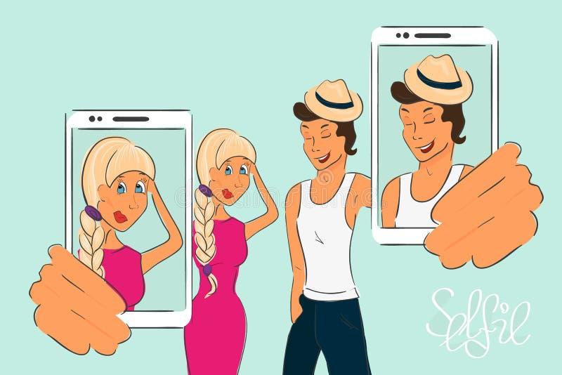 Счастливые пары делают selfie иллюстрация вектора
