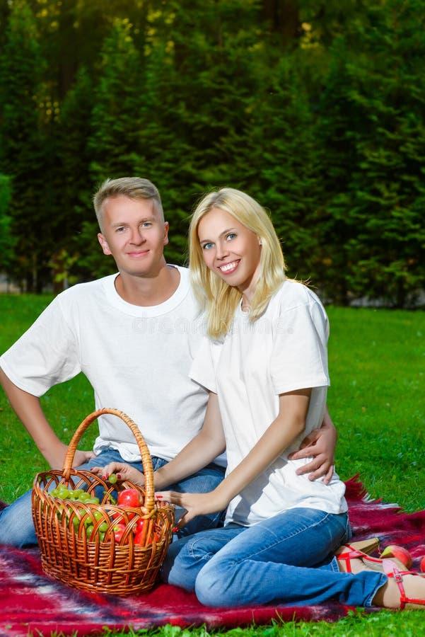 Счастливые пары имея пикник внешний на летний день стоковая фотография